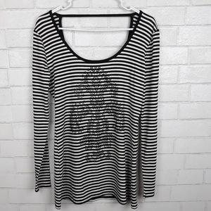 Cache Fleur De Lis Rhinestone Striped Shirt G94